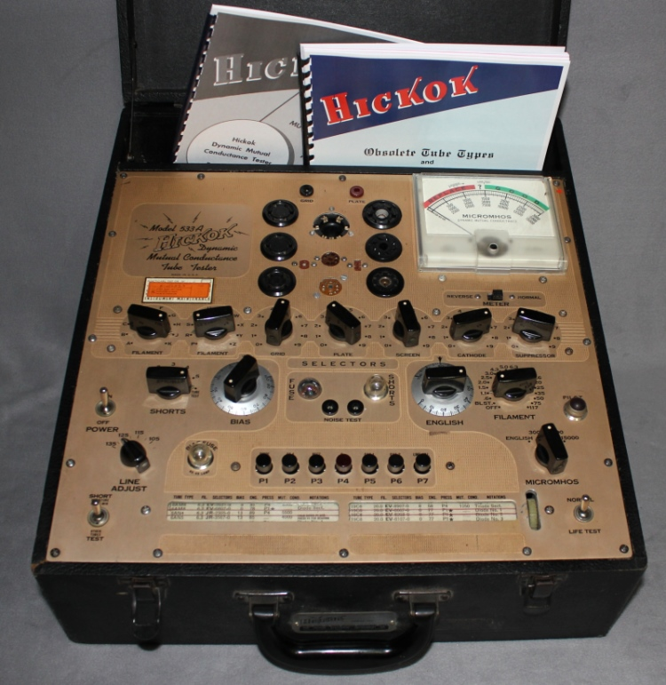 RadiolaGuy com : Hickok tube tester 533A - gold panel